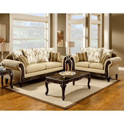 Aveline Tan Fabric Sofa Set