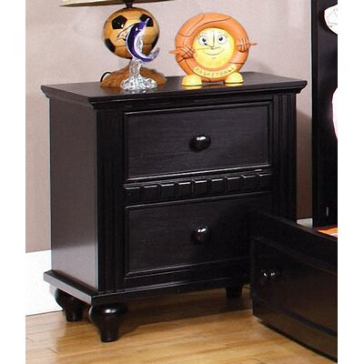 Kennedy 2 Drawer Nightstand Finish: Black