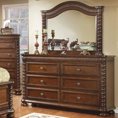 Bautini 6 Drawer Dresser with Mirror