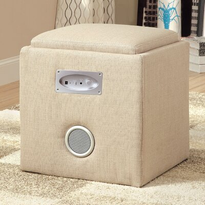 Reverb Cube Ottoman with Bluetooth Speakers Upholstery: Ivory