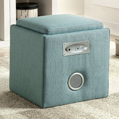 Reverb Cube Ottoman with Bluetooth Speakers Upholstery: Blue