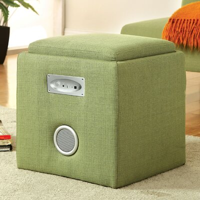 Reverb Cube Ottoman with Bluetooth Speakers Upholstery: Green