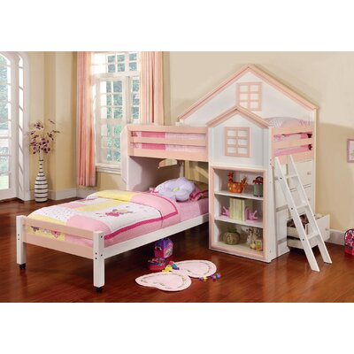 Stewart House Twin Loft Bunk Bed Finish: Pink / White