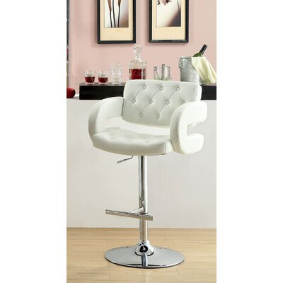 Lesticia Adjustable Height Swivel Bar Stool Upholstery: White