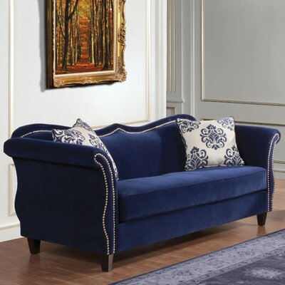 Emillio Premium Upholstered Sofa Upholstery: Royal Blue