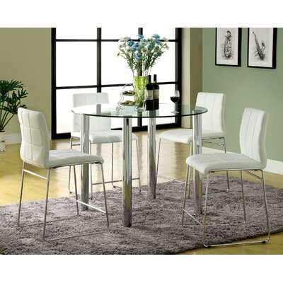 Narbo 5 Piece Counter Height Dining Set Upholstery White