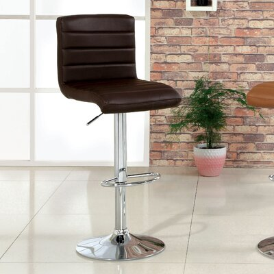 Elenore Adjustable Height Swivel Bar Stool Upholstery: Dark Brown