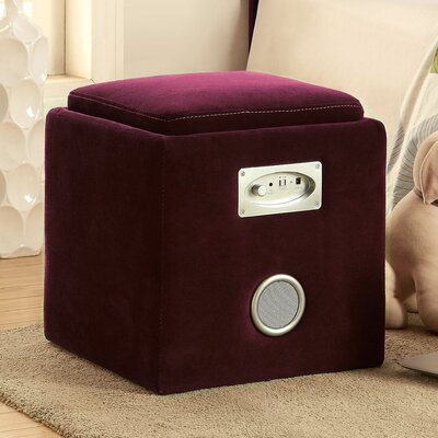 Reverb Cube Ottoman with Bluetooth Speakers Upholstery: Purple