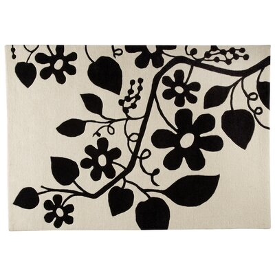 Flora White/Black Area Rug Rug Size: Rectangle 56 x 710
