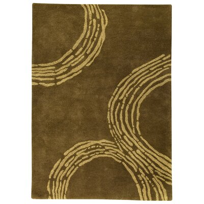 Ripple Olive Gold Area Rug Rug Size: 83 x 116
