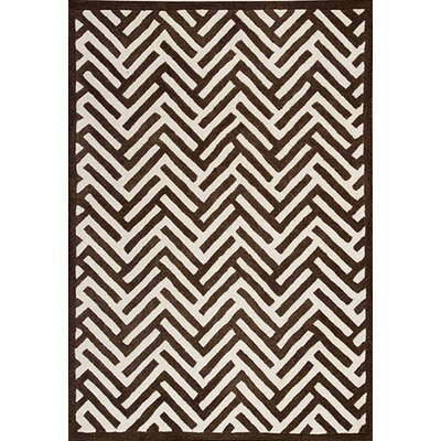Tracks Brown Area Rug Rug Size: 83 x 116