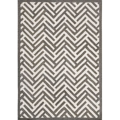 Tracks Grey & Ivory Area Rug Rug Size: 83 x 116