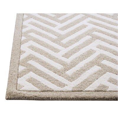 Tracks White/Ivory Area Rug Rug Size: 46 x 66