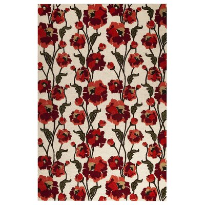 Fields White/Red Area Rug Rug Size: 52 x 76
