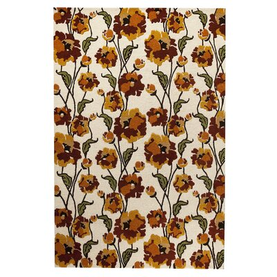 Fields White/Rust Area Rug Rug Size: 710 x 910