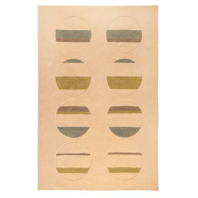 Orb White/Green Area Rug Rug Size: 76 x 96