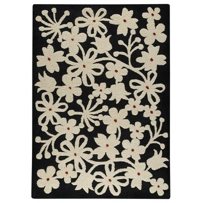 Sherron Charcoal/White Area Rug Rug Size: 83 x 116