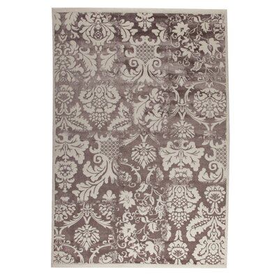 Belvedere White/Brown Area Rug Rug Size: 52 x 76