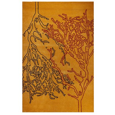 Branches Orange Area Rug Rug Size: 52 x 76