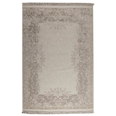 Majestic White/Beige Area Rug Rug Size: 52 x 76
