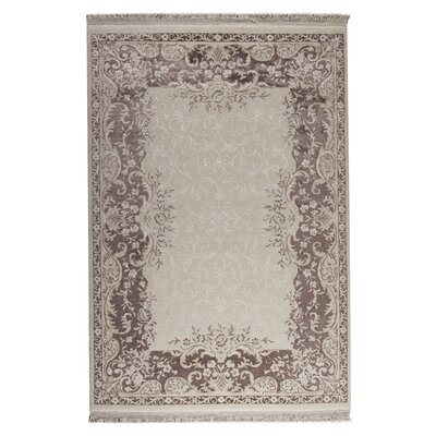 Majestic White/Brown Area Rug Rug Size: 710 x 910