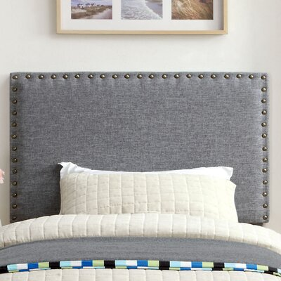 Marina Upholstered Panel Headboard Size: Twin, Upholstery: Gray