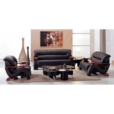 Chrysocolla 3 Piece Leather Living Room Set Upholstery: Black