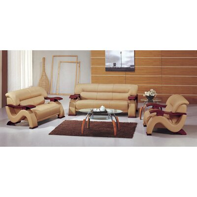 Chrysocolla Leather 3 Piece Living Room Set Upholstery: Beige