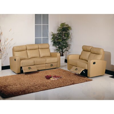 Hokku Designs Slope Leather Reclining Sofa - Color: Taupe