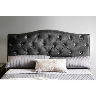 Mariella Upholstered Panel Headboard Size: Full/Queen, Upholstery: Black