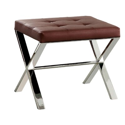 Vielle X-Braced Ottoman Upholstery: Red