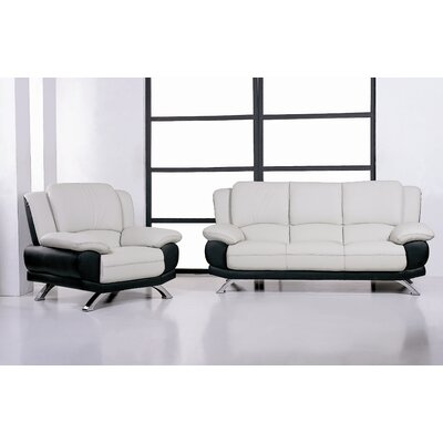 Hokku Designs 117 Sofa and Chair Set Caelyn Leather Living Room Collection