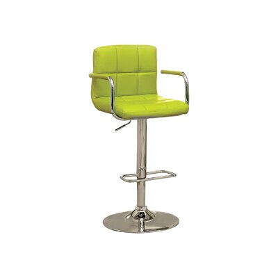Adjustable Height Swivel Bar Stool Upholstery: Lime