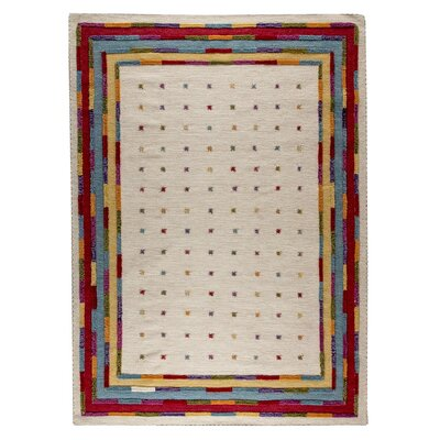 Ned Hand-Woven White Area Rug Rug Size: 83 x 116