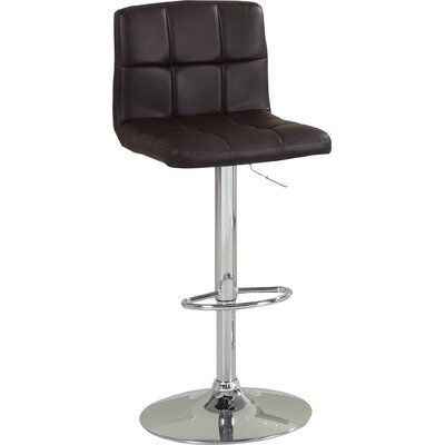 Pure Adjustable Height Swivel Bar Stool Upholstery: Dark Brown