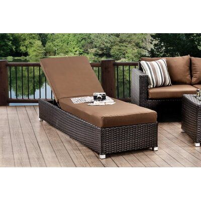 Sheryl Chaise Lounge with Cushion Fabric: Brown