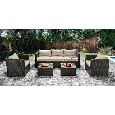 Alden 5 Piece Seating Group Fabric: Ivory