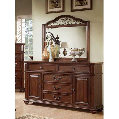 Lorrenzia 5 Drawer Combo Dresser with Mirror