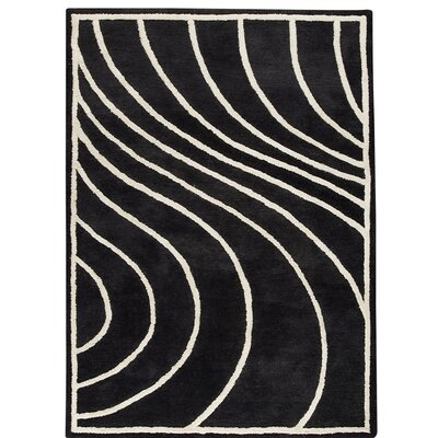 Lake Placid Hand-Tufted White/Charcoal Area Rug Rug Size: 56 x 710