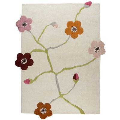 Yuette Hand-Tufted White Area Rug Rug Size: 56 x 710