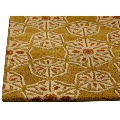 Normandie Hand-Tufted Gold Area Rug Rug Size: 52 x 76