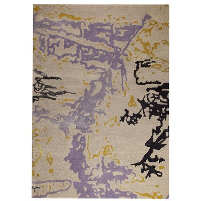 Mistral Hand-Tufted Gray/Gold Area Rug Rug Size: 52 x 76