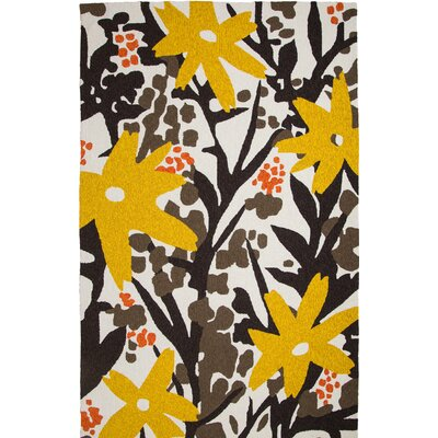 Bloom Hand-Tufted Brown/Gold Indoor/Outdoor Area Rug Rug Size: 9 x 12