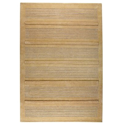 Boston Hand-Knotted Beige Area Rug Rug Size: 46 x 66