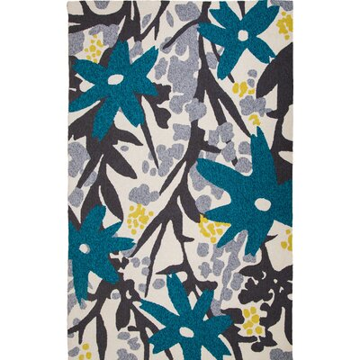 Bloom Hand-Tufted Gray/Turquoise Indoor/Outdoor Area Rug Rug Size: 5 x 8