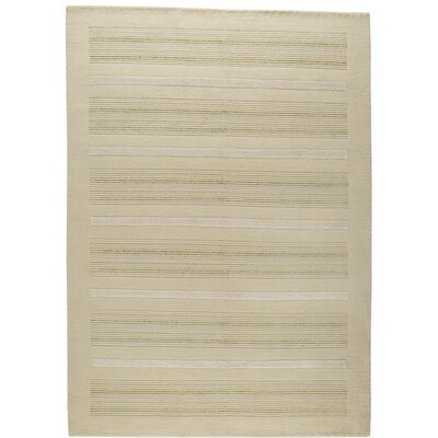Boston Hand-Knotted White Area Rug Rug Size: 46 x 66