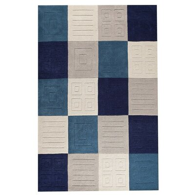 Cuadro Hand-Tufted Gray/Blue Area Rug Rug Size: 76 x 96