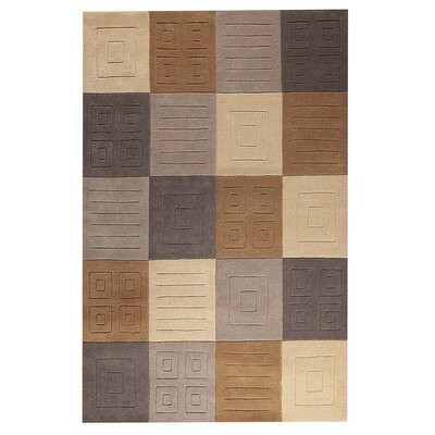 Cuadro Hand-Tufted Gray/Beige Area Rug Rug Size: 76 x 96