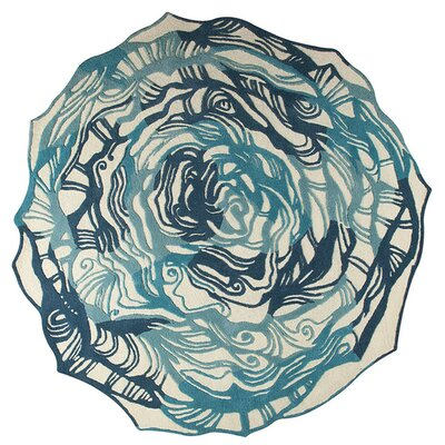 Hibiscus Hand-Tufted Turquoise Area Rug Rug Size: Round 6 x 6