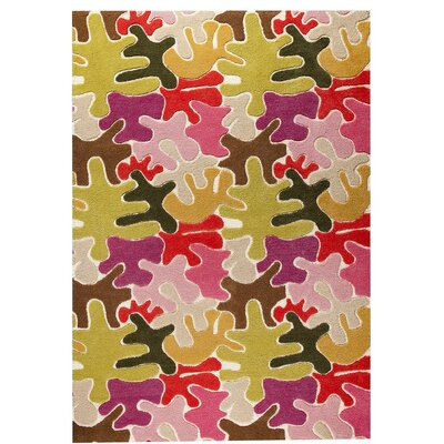 Jigsaw Hand-Tufted Pink Area Rug Rug Size: 52 x 76